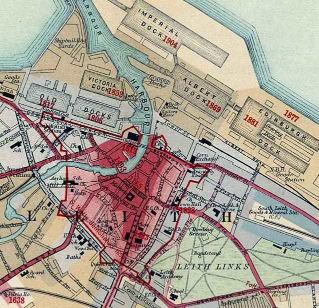 Extract from a a Chronological Map published 1919  -  Leith