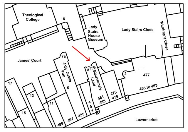 Map of Lawnmarket for comparison with 1970s photo