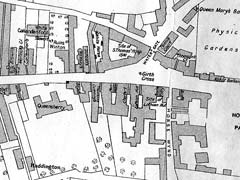 Royal Mile Closes in mid-C18 - Extract from map including Holyrood