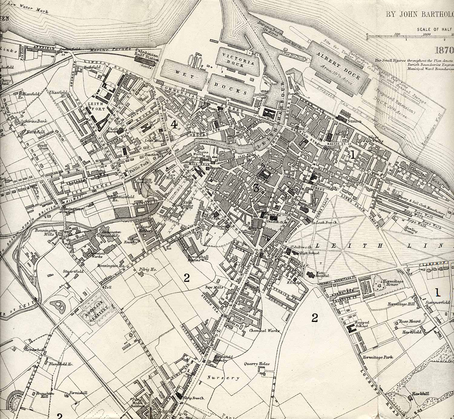 Leith  -  1870  -  Enlargement of part of a map by John Bartholemew that appeared in the Edinburgh & Leith Post Office Directory 1870-71