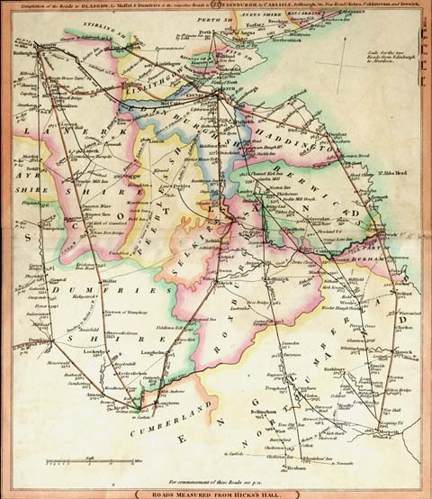 Southern Scotland  -  Roads to Glasgow and Edinburgh with distances to London  -  1806