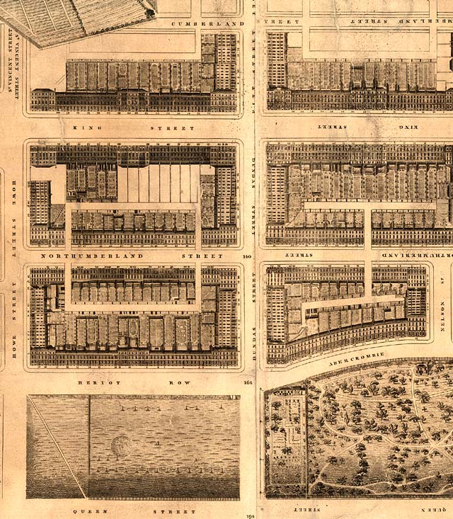 Detail from map of Edinburgh New Town  -  Kirkwood, 1819  -  Second New Town