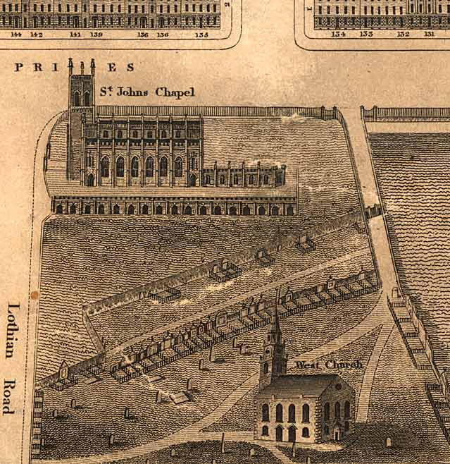 Detail from map of Edinburgh New Town  -  Kirkwood, 1819  -  West End