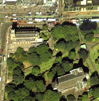 Detail from an aerial photograph of Edinburgh  -  Digital Map Co, 2001  -  West End of Princes Street