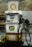 Zoom-in to petrol pump at old BP petrol station in the Scottish Highlands
