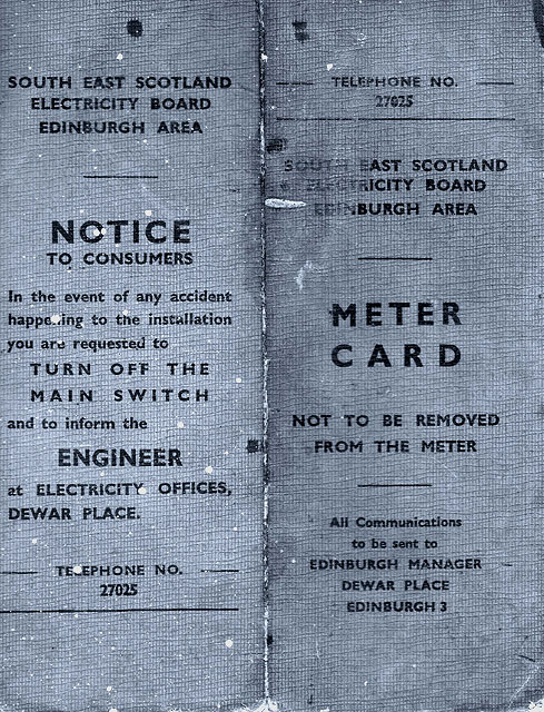 The Front of an Electric Meter Reading Card  -  1950s