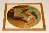 Painting by Tom Curr  -  girl and brown cow  -  probably uses as the basis for tiles on Buttercup Dairy Co shops