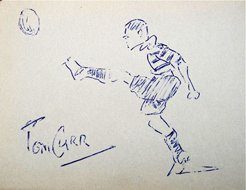 Sketch by Tom Curr of a Heriot's Rugby Player