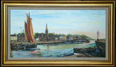 One of a series of paintings of harbours around Edinburgh by 'The Leith Artist', Frank Forsgard Manclark  -  Newhaven Harbour