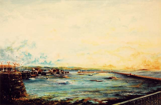 Painting by Frank Forsgard Manclark, 'The Leith Artist'   -   Granton Harbour