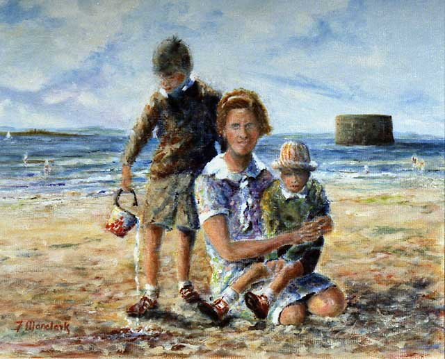 Painting by Frank Forsgard Manclark, 'The Leith Artist'   -   Leith Sands and the Martello Tower