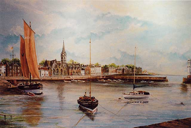 Painting by Frank Forsgard Manclark, 'The Leith Artist'   -   Newhaven Early Morning