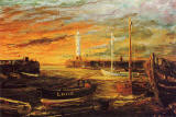 Painting by Frank Forsgard Manclark, 'The Leith Artist'   -   Newhaven Sunset