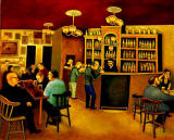 Painting by Edinburgh artist, Michael McVeigh  -  Bow Bar, Edinburgh  -  Is it acrylic?