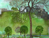 Painting by Edinburgh artist, Michael McVeigh  -  Edinburgh Castle and Princes Street Gardens  -  Is it acrylic?