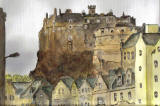 Painting by Mary Raeburn  -  Edinburgh Castle from Johnston Terrace, Edinburgh