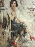 James Bacon & Sons - Portrait on silk of a 1920s lady