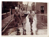 Photograph taken by K F Balmain in North Berwick  -  Three children and a model yacht