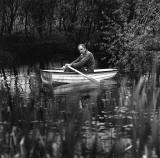 Photograph by Robin Gillanders  -  Ian Hamilton Finlay in his garden at Little Sparta