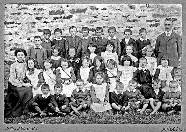A photograph  by D & W Prophet of a school class at Reay, Caithness in the north of Scotland  -  c1899-1906