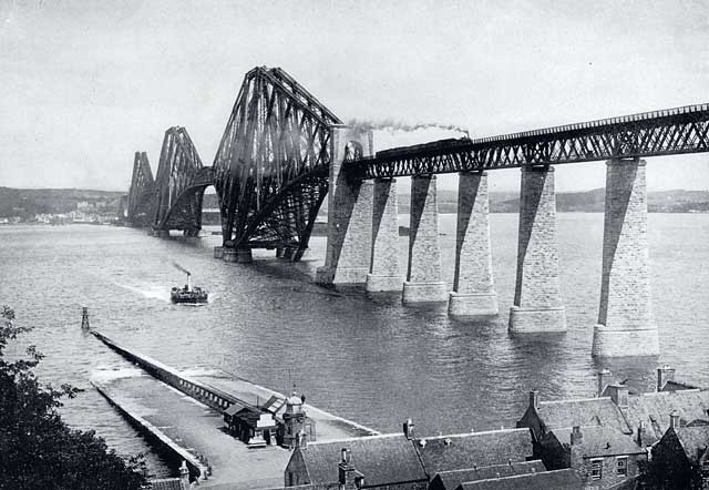 W R & S  -  photograph from the early-1900s  -  The Forth Rail Bridge and Queensferry Ferry