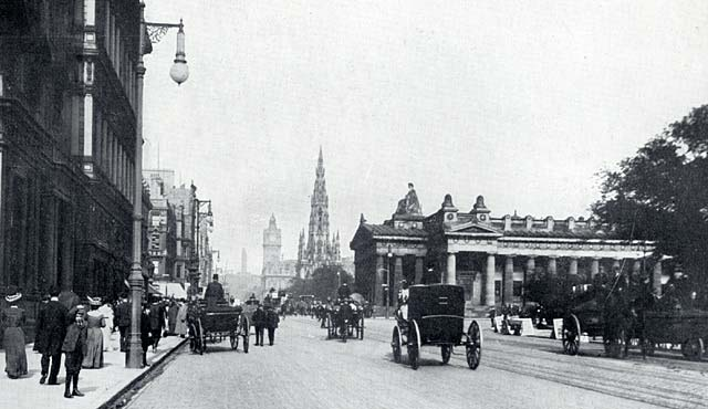W R & S Ltd prhotograph from around the early 1900s  -  Looking to the east along Princes Street from the New Club