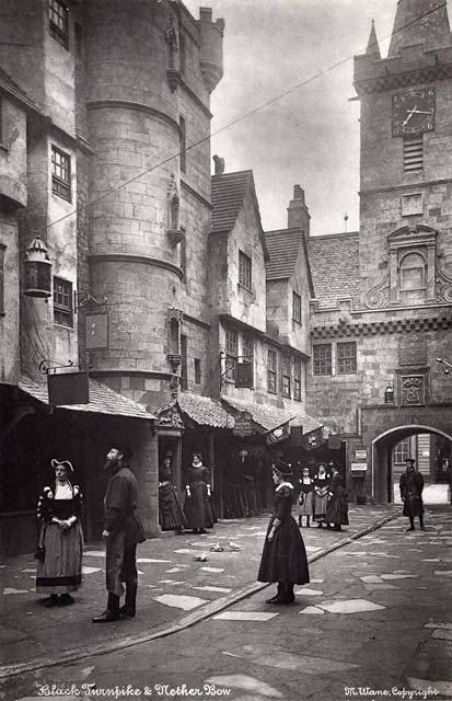'Old Edinburgh' exhibit at the International Exhibition, Edinburgh, 1886   -  by Marshall Wane  -  Page 4  -  Black Turnpike and Netherbow