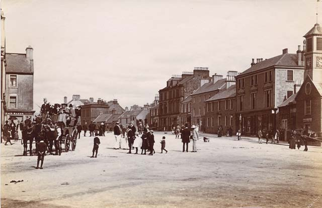 Albumen Print of the High Street in Moffat, with Stage Coach  -  photographed by John Weir