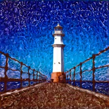 New Images of Edinburgh  -  by Trevor and Faye Yerbury  -  In exhibition, August 2004  -  Newhaven Lighthouse