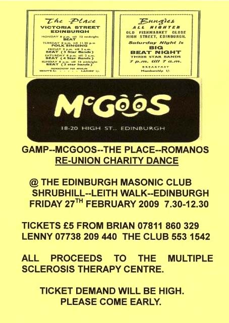 Poster for Re-union Charity Dance -  27 February 2009 -  for those who used to go to the Edinburgh clubs and discos in the 1960s
