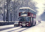 Beric Tempest Colourcard  -  A wintry scene on Frogston Road, Edinburgh with Leyland Atlantean 608.