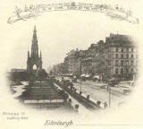 Postcard  -  Castle Series  -  Princes Street, looking west