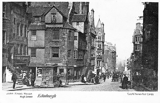 John Knox House and Well in the Royla Mile, Edinburgh  -  A Postcard in the 'Castle Series'