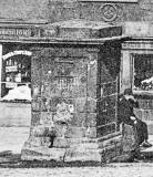 Zoom-in to the old well in front of John Knox House in the Royla Mile, Edinburgh  - Detail from a Postcard in the 'CastleSeries'