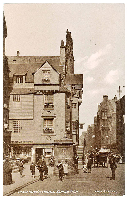 John Knox House and Well in the Royla Mile, Edinburgh  -  A Postcard by W J Hay in the 'Knox Series'