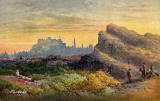 Misch & Stock's Postcard  -  Arthur's Seat and Edinburgh Castle