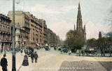 'National Series' postcard  -  Scott Monument and Princes Street from Foot of Mound