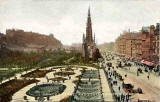 'National Series' postcard  - Princes Street and Scott Monument from NB Hotel