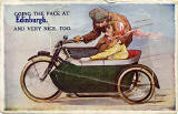 Pocket Novelty card containing 12 small views of Edinburgh  -  Picture on the front is of a Motor Cycle