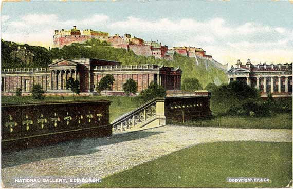 Postcard published by A Louis Reis & Co  -  View of Edinburgh Castle and the National Galleries from East Princes Street Gardens