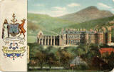 Postcard published by John R Russel of Edinburgh (JRRE)  -  Holyrood Palace and Edinburgh Coat of Arms