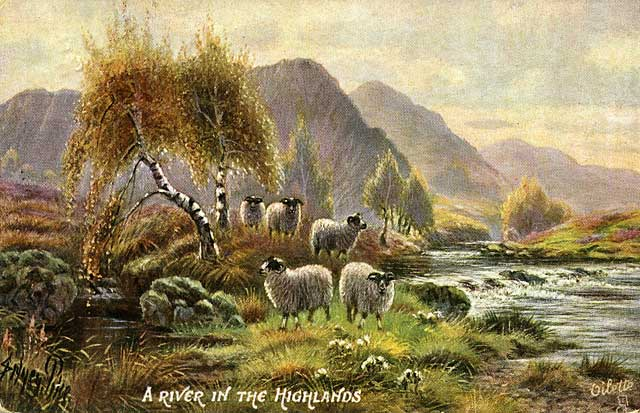 Raphael Tuck's 'Oilette' postcard  -  A River in the Highlands