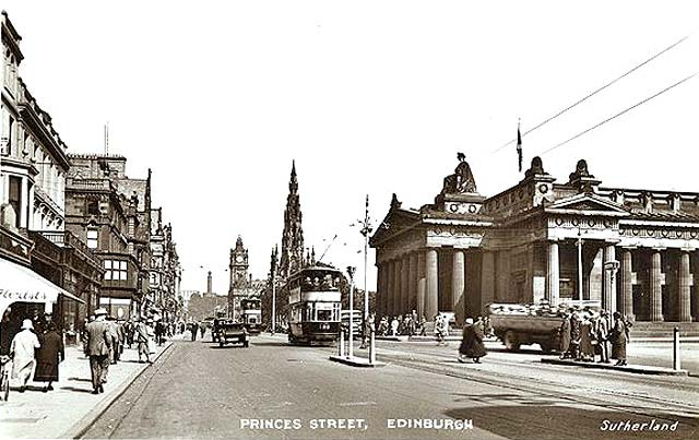 Postcard published by Sutherland  -  Looking to the east along Princes Street to the National Galleries