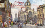 "Raphael Tuck ""Oilette"" postcard  -  St Giles Church + Christmas Greeting"