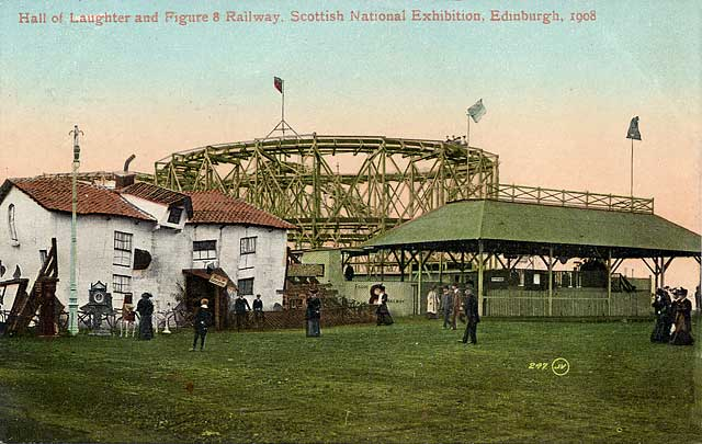 Postcard by Valentine  -  Scottish National Exhibition, Edinburgh, 1908  -  Figure of 8 Railway and House of Troubles
