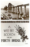 Valentine Postcard  -  The Forth Bridge (1936) and Lucky Whie Heather