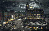 Valentine's Postcard  -  Moonlight Series  -  The East End of Princes Street and the North British Hotel  -  Colour