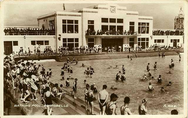 Portobello Bathing Pool Valentine Postcard