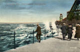 Postcard view by Valentine  -  A Rough Sea, Portobello Promenade  -  84394