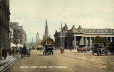 Postcard by Valentine  -  Looking to the east along Princes Street from Frederick Street  -  coloured  -  back of green car